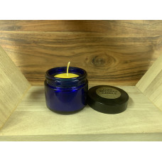 Small Blue Glass Beeswax Candle